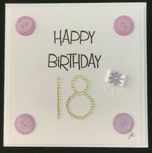 Button & Diamante Personalised Birthday Age or Anniversary Handmade Card 6 x 6