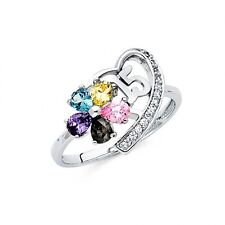 14k White Gold Fancy Sweet 15 Años Heart Cubic Zirconia Ring Resizable Size 7*