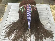 Vintage African Braided Wig Headdress (Hide, Plant Fibre, Beads) - Stunning!