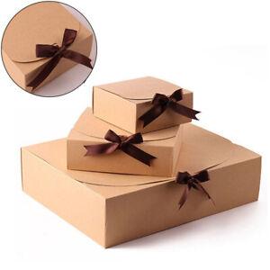 Paper Gift Box Bowknot Storage Bag Kraft Package Box Birthday Baking Cookies