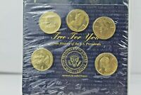 History Of The U.S. Presidents Coins & Holder Set - 5 Coins Collection