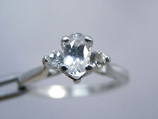 SAPPHIRE - Petite White April-substitute Birthstone or Pinky .925 Sterling Ring