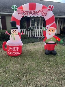 Airblown Inflatable 9ft. Archway Santa's Sugar Shoppe Easy Up Christmas Lights