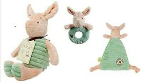 Rainbow Designs Hundred Acre Wood Soft Toy Piglet, Comfort Blanket & Rattle Ring
