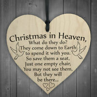 'Christmas in Heaven' Heart Hanging Plaque Sign Friendship Gift Home Decor NEW