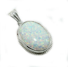 Sterling Silver Reconstituted Rope Edged Opal Pendant +18inch chain -Gift Boxed