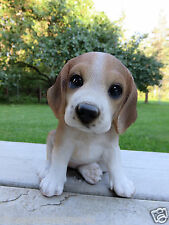 "Beagle Puppy Dog Figurine Statue Resin Pet 6"" H Canine Brown White Ornament New"