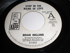 Brian Ingland: Stop In The Name Of Love / Crashing In The Middle Of The Night 45
