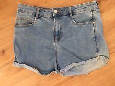 Ladies TRF DENIM ZARA Short Denim Shorts Size 8 High Rise Faded Light Blue Roll