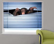 Peeking monkey through the blind photo printed window blind animal picture blind