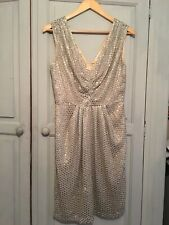 Monsoon Dress Gold Sequin Putty Champagne Taupe 10