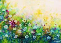 Flowers painting Nature Love Flower Art Floral  Wall Art Original Oil Painting