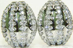 3.00CT DIAMONDS DECO HUGGIE EARRINGS G/VS 14KT+