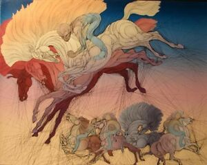 """Guillaume Azoulay """"Osalto"""" Signed & Numbered Serigraph Art, horses, Make Offer!"""