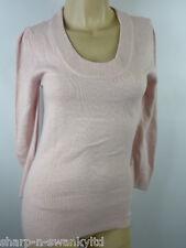 Ladies Pink Scoop Neck Jumper Sweater Top UK 6-8 EU 34-36