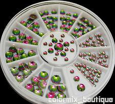 3D Nail Art Decoration Shiny Greenish Multicolor Rhinestone Gem 4 sizes New
