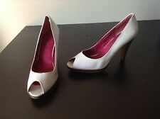 White Pumps Peep Toe Heels Womens Shoes Size 9