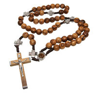 Christian Rosary Beads Olive Wood Prayer Knot w/ Crucifix and Holy Soil 21""
