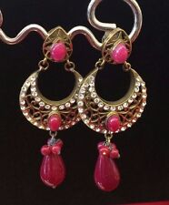 Ethnic Bollywood White Red Pink Gold Indian Pearl Earrings