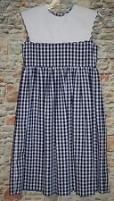 Kellys Kids GIRLS 7 Easter Dress Blue Check Gingham Sleeveless Collar Sundress