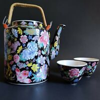Vintage Chinese 1000 Flower Famille Noire Tea Set Zhongguo Jingdezhen
