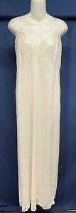 Vintage Ankle Length Full Slip Nylon White Lace Size 46