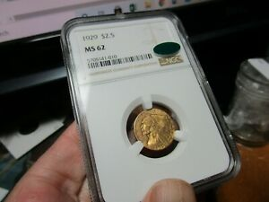 GOLD  CAC APPROVED 1929 INDIAN HEAD QUARTER EAGLE $2.50  NGC  MS-62   VERY CLEAN