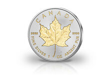 Maple Leaf 1 oz Silbermünze 2020 Kanada mit 24 Karat Goldapplikation