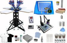 4 Color Screen Printing Press T-shirt Screen Printing Kit Full Material Supply