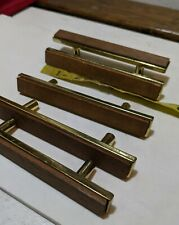 Vtg Bicentennial brand Cabinet Drawer Pull Handle MCM wood gold Trim Lot