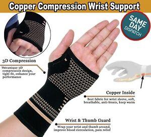 Copper Compression Wrist Support Arthritis Gloves Hand Palm Brace Carpal Sleeve