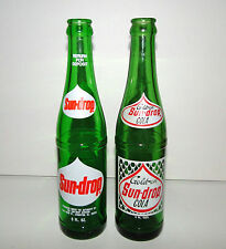 2 Vintage Evanston, IL Sun Drop 9oz Soda Bottles ACL Green Glass Illinois
