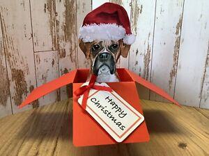Boxer Dog Christmas Pop Up Box Card, Handmade