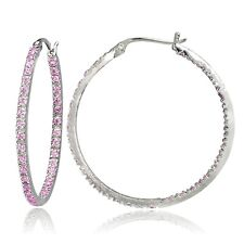 Sterling Silver Pink Cubic Zirconia Inside Out 30mm Round Hoop Earrings