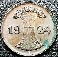 1924-D Germany 2 Pfennig Coin - Mint Condition - Great Detail