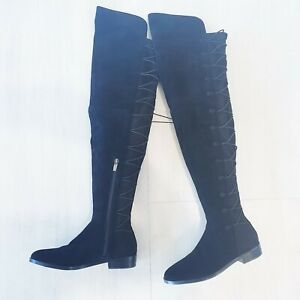 Vince Camuto Size 37.5 Black Suede Over The Knee OTK Coatia Flat Boots