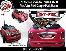 Custom License Plate Decal Sticker Fits Avigo Mini Cooper Push Buggy Stroller