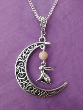 FILIGREE CRESCENT MOON GAZING 3D HARE PENDANT & NATURAL MOONSTONE NECKLACE Wicca