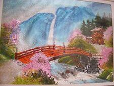 VINTAGE Giapponese Ricamo Seta PANNELLO Cascata, PONTE Pagoda-firmato incorniciato