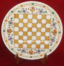 Home Decor Handmade Marble Inlay Chess Plate, Decorative Marble Chess Plates