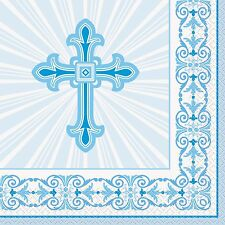 Unique Party 43822 - Radiant Cross Blue Religious Napkins Pack of 16
