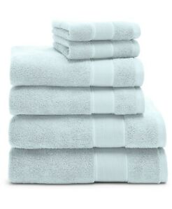 NEW! Ralph Lauren Sanders Lagoon Blue 6 Pc Bath & Hand Towel & Washcloth Set