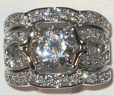 Majestic Antique 3.20 CT Cubic Zirconia Platinum Bridal Wedding Ring Set SIZE 10