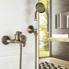 Antique Brass Wall Mounted Bathtub Faucet Bath Shower Mixer Tap With Hand Shower
