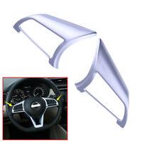 2Pcs/set Chrome Steering Wheel Button Frame Trim For NISSAN ROGUE SPORT 2017-18