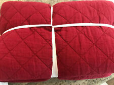 Pottery Barn Belgian Flax Linen Diamond Quilt Twin Ruby Red NEW