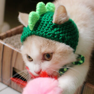 Pet Kitten Cat Woolen Cap Green  Dinosaur Knitted Cosplay Hat For Holiday Party