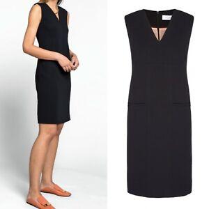 The Fold V Neck Dress Black Pockets sleeveless Classic Work Shift