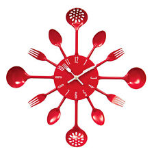 Red Kitchen Cutlery Wall Clock Metal Modern Style Home Decor New