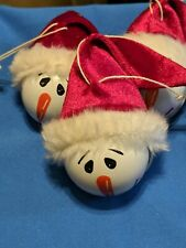 NEW lot of 3 Snowman Bell Christmas Tree Holiday Ornament Decor